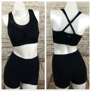 NWOT Black sports bra mesh inset size medium